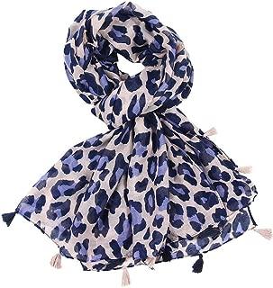 Womens Leopard Print Scarf Wrap Shawls Autumn Winter Tassel Headband Soft Shawl
