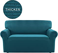 Easy-Going Thickened Stretch Slipcover, Sofa Cover, Furniture Protector with Elastic Bottom, Anti-Slip Foam, 1 Piece Couch Shield, Sturdy Fabric Pets,Kids,Children,Dog (Loveseat,Peacock Blue)