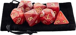 Kit 7 Dados RPG de Mesa D&D Opaco Perolado D4 D6 D8 D10 D10% D12 D20 Cor VERMELHO ROYAL + 1 Bolsa
