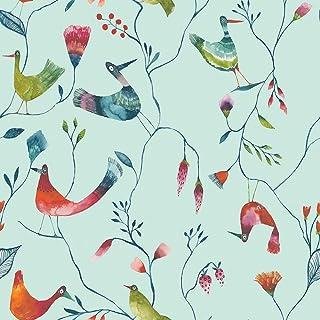 ecosoul Nappe en toile cirée Birds - Turquoise - En PVC - Lin gaufré - Largeur : 140 cm - Longueur au choix (290)