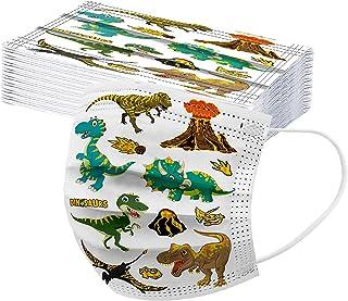 Generic 50 Stück Kinder Mundschutz Einweg Dinosaurier Bedruckt Mund-Nasenschutz Multifunktionstuch 3 lagig Atmungsaktiv MN...
