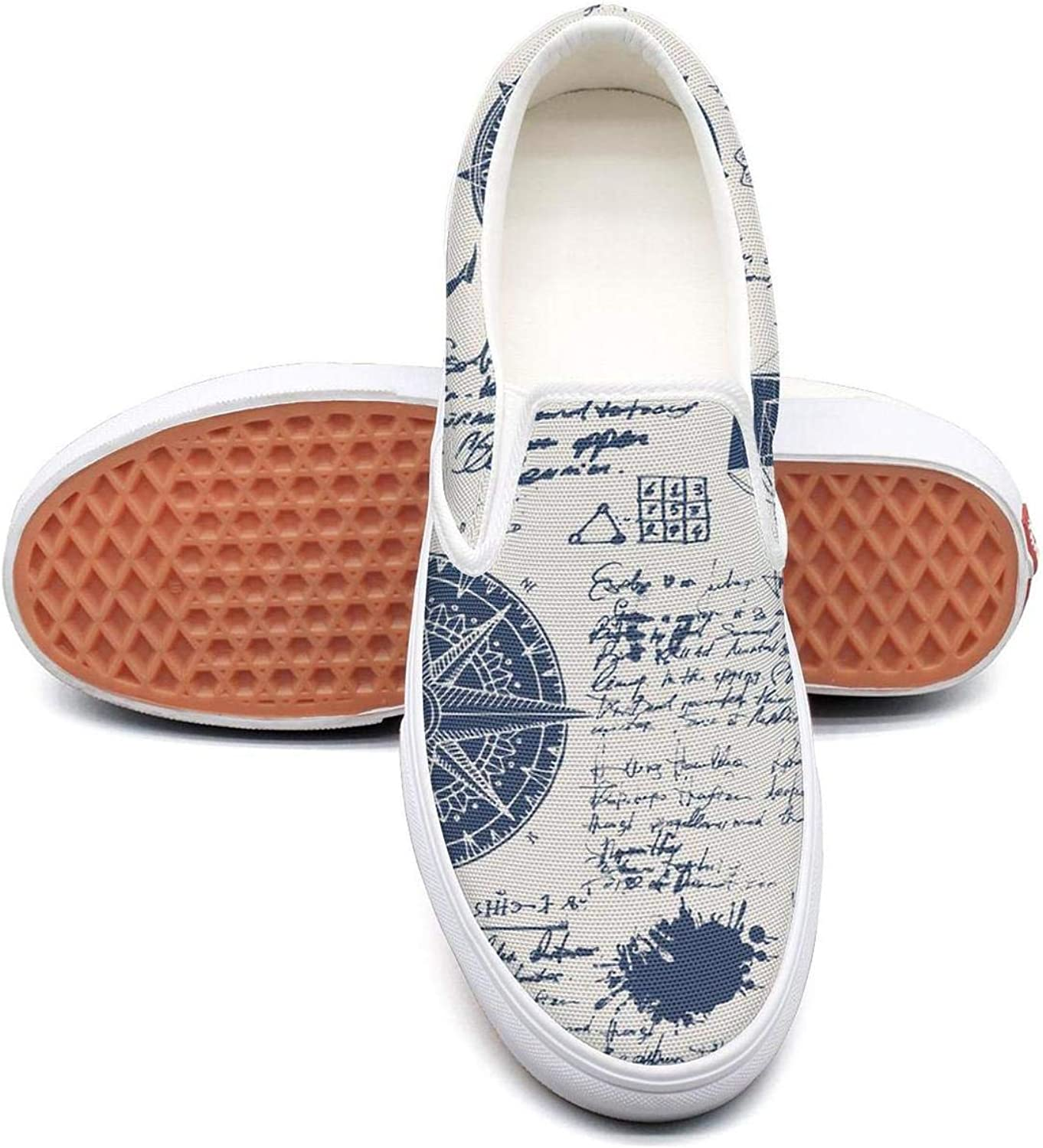 Lalige Vintage Moon Map Women Printed Graphics Canvas Slip-ONS Walking shoes