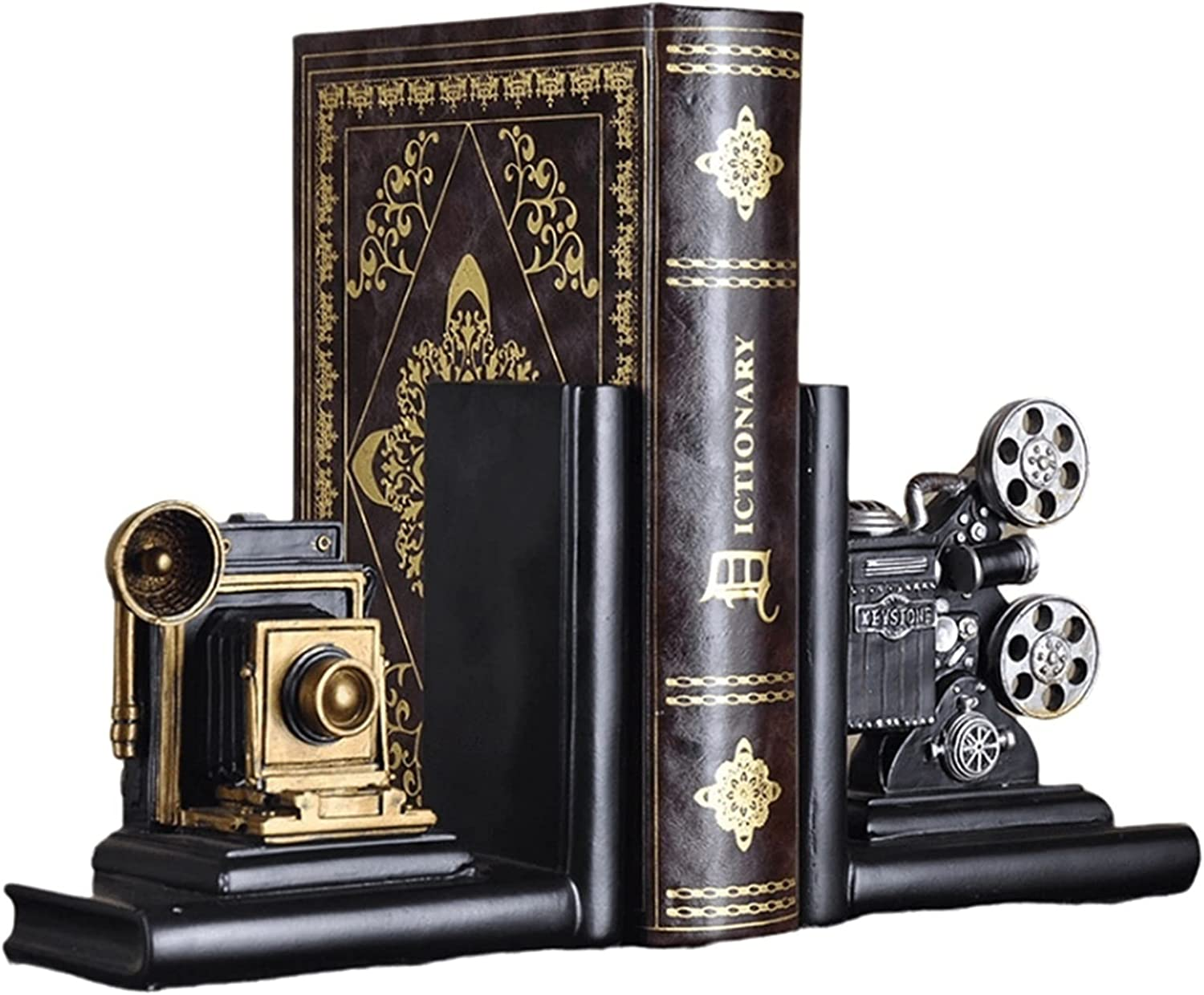 Bombing free shipping ZXNRTU Vintage NEW before selling ☆ Decorative Bookend Fi Retro Movie Camera