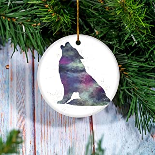 Spirit of the Wolf Native American Wood Christmas Tree Holiday Ornament