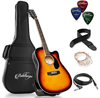 Best Ashthorpe Full-Size Cutaway Thinline Acoustic-Electric Guitar Package - Premium Tonewoods - Sunburst Reviews