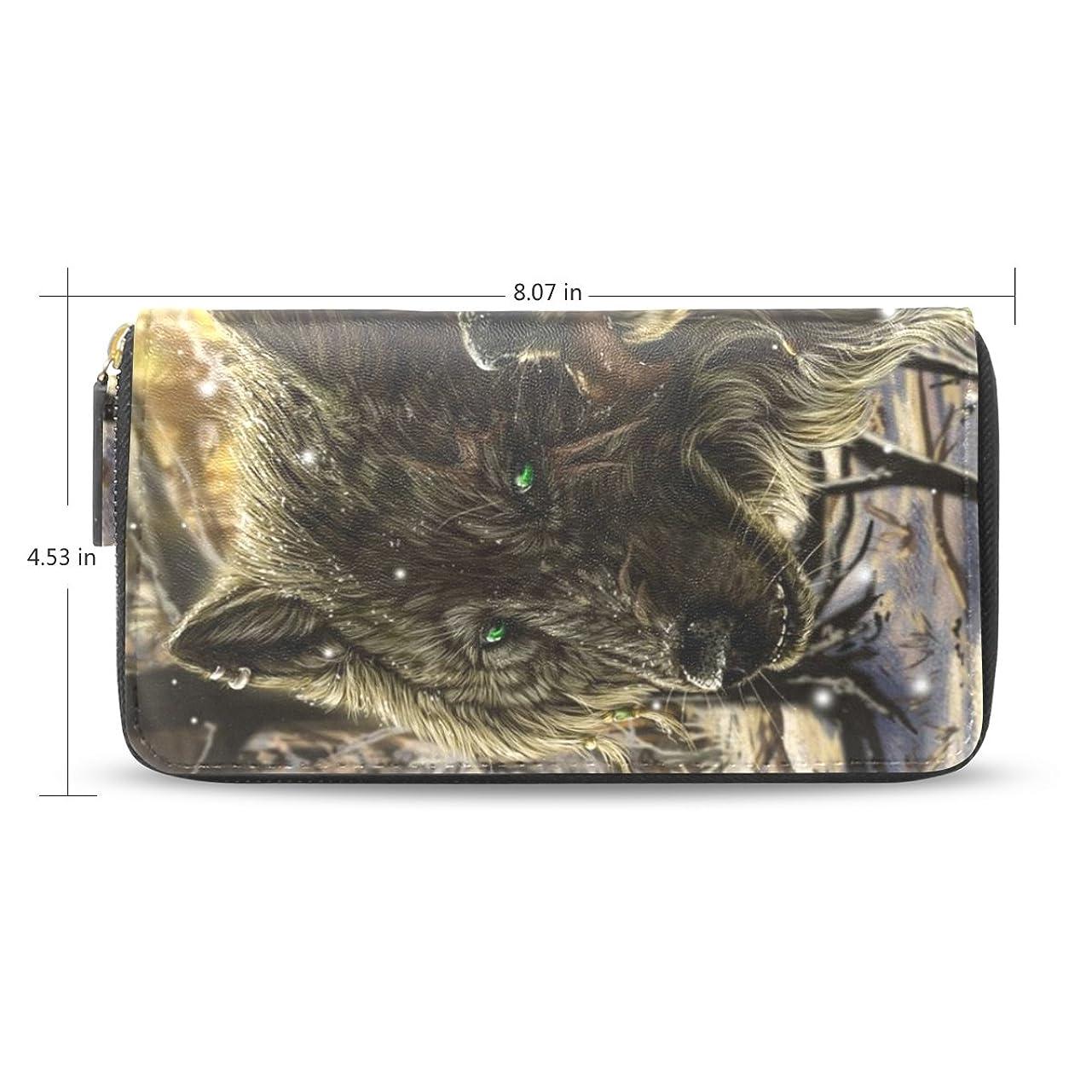 食品着飾る試みるレディースウルフパターン長財布&財布ケースカードホルダー