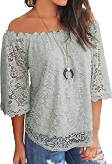 8042d5fea383b2 MIHOLL Women's Lace Off Shoulder Tops Casual Loose Blouse Shirts