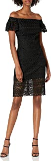 فستان نسائي Missy Black Lace Off Shoulder بأكمام مكشكشة من Bebe