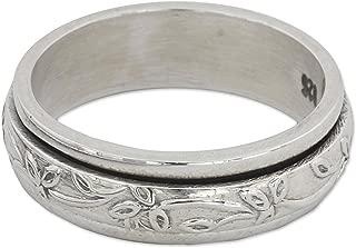 NOVICA .925 Sterling Silver Floral Meditation Spinner Ring, Spinning Leaves'
