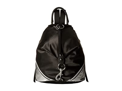 Rebecca Minkoff Julian Nylon Side Zip Backpack (Black/Silver) Backpack Bags