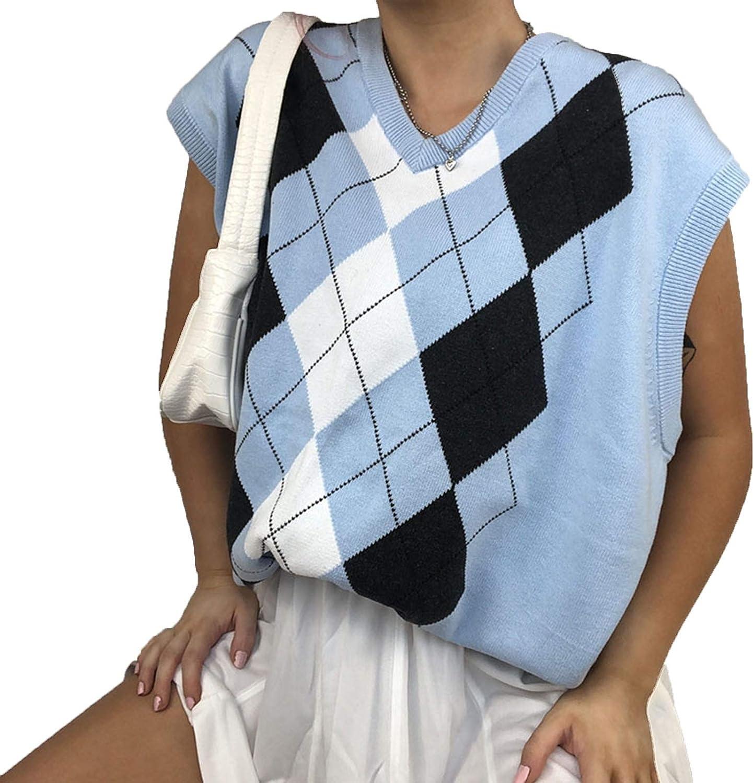 Women Sleeveless Argyle Plaid Knitted Sweater Vest Loose Streetwear Preppy Style Knitwear V Neck Crop Tank Top