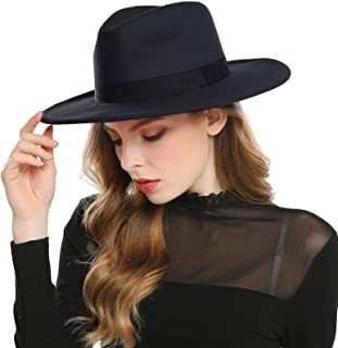 Women's Faux Wool Felt Fedora Hat Wide Brim Derby Church Party Panama Winter Hats