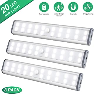 Under Cabinet Lighting Closet Light 20 LEDs 3 Packs, Wireless Rechargeable Cabinet..