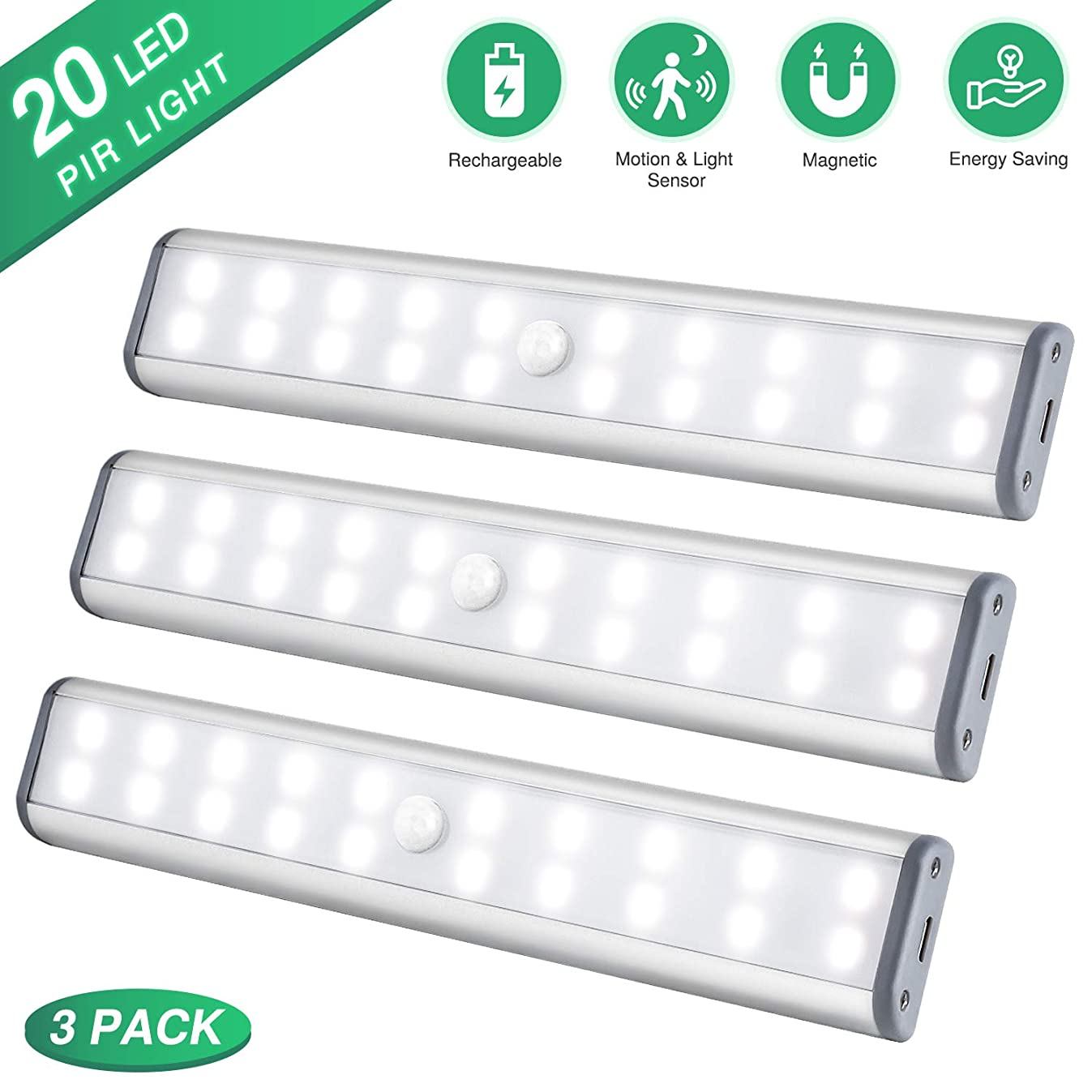 Under Cabinet Lighting, Closet Light 20 LEDs 3 Packs, Wireless Rechargeable Cabinet Lights, Magnetic Under Counter Lighting, LED Motion Sensor Night Light for Closet Cabinet Wardrobe Stairs (White)