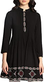 Artizara Womens Zarina Embroidered Modest 3/4 Sleeves Tunic Top Kurti Tunic Dress - Black