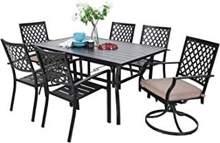 MF Outdoor Patio Dining Set 7 Pieces, 2 Swivel Chairs, 4 Metal Chairs, 1 Umbrella 6 Person Table for Lawn Garden Furniture Set Metal Frame Black