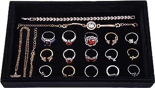 HooAMI Black Velvet Jewelry Display Organizer for Drawer & Jewelry Storage Trays