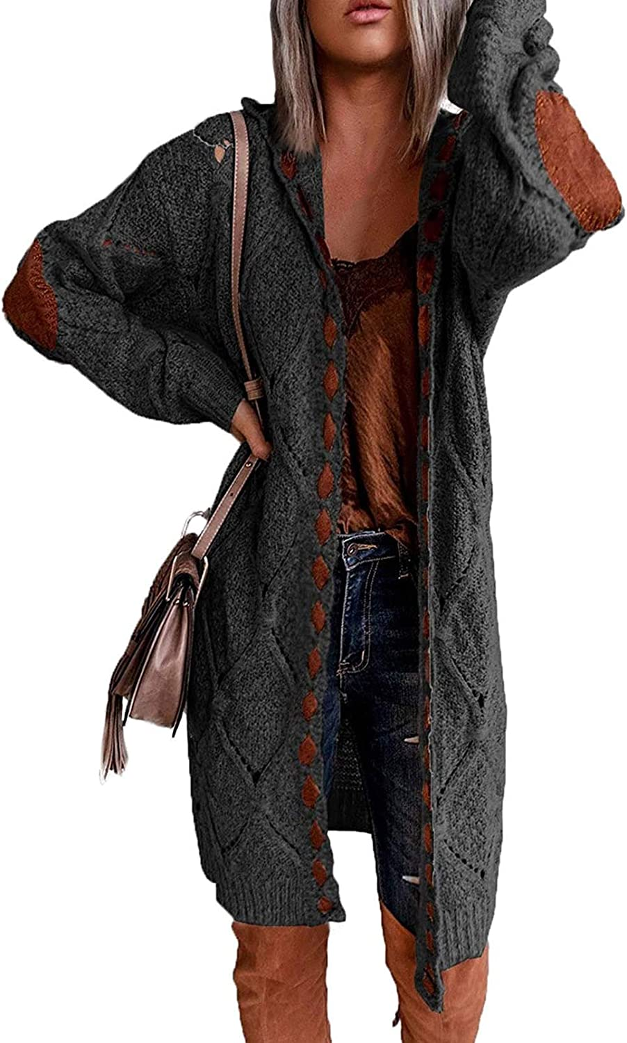 TEWWEY Women's Casual Cable Knitted Hooded Cardigan Open Front Sweater Long Sleeve Chunky Outwear Coat