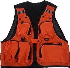 Chaleco de pesca - TOOGOO(R) Ligero,comodo, Chaleco de red de multi bolsillos pesca Chaleco de trabajo de caza Chaleco al aire libre Naranja XL
