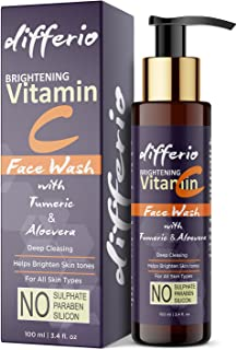Differio Vitamin C Face Wash With Turmeric For Skin Brightening, Skin Glowing And Deep Cleansing - Vitamin C Facewash For ...