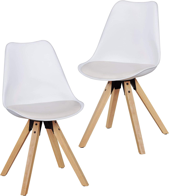 FineBuy Design Esszimmerstühle 2er Set Wei FB5057 Skandinavische Stühle mit Holzbeinen  Retro Stuhlset Kunststoff  Küchenstühle mit Kunstleder  Lehnenstuhl Modern  Küchenstuhl Esszimmer