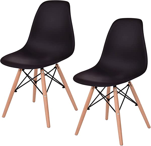Set Of 2 New Contemporary Mid Century Modern Ergonomic Back Design Dining Side Chair Beech Wood Legs Black 815