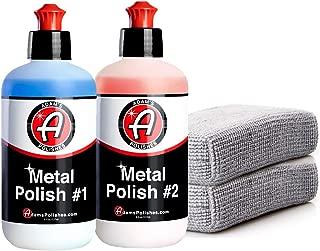 Adam's Metal Polish 1 & 2 Polish & Microfiber Applicators - Polish Aluminum, Chrome, Stainless & Uncoated Metals - Polish #1 Restores Neglected Metals - Polish #2 Achieves Perfection