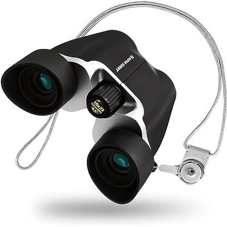 SuperSunny 双眼鏡 コンサート 10倍 10x22 Bak4 アイカップでブレない 軽量 (ブラック)