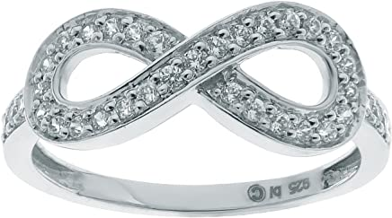 Sterling Silver Infinity Ring with 0.33 cttw Diamonds Size 8