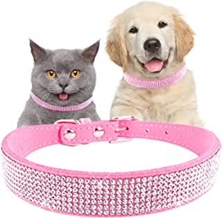 teemerryca Pink Bling Diamond Dog Collars with Bow Girl Breakaway Safety Cat Collar Sparkly Rhinestone Dog Leash Christmas Decorative Necklace