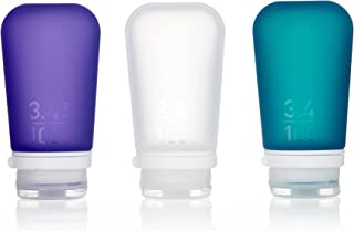 humangear Humangear Gotoob+ Silicone Travel Bottle with Locking Cap, 3-Pack, Large (3.4oz), Clear/Purple/Teal (Multi) - HG3189