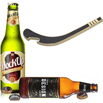 Miicol Hockey Stick Beer Beverage Cap Bottle Opener, Durable Solid Metal, Funny Gifts for Beer Lovers, Housewarming or Drinking Party Gift, Gold