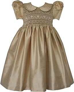 Golden Silk Hand Smocked Pageant Flower Girls Dress