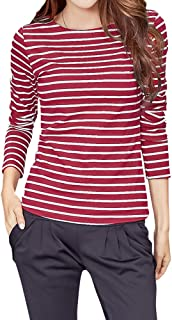 WTSHOPME Women Striped Long Sleeve T-Shirt Top Tees Blouse
