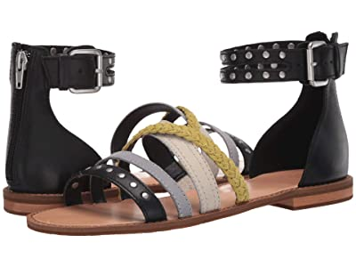 FRYE AND CO. Evie Mixed Strap Stud Sandal (Black Multi Waxed Leather/Suede) Women