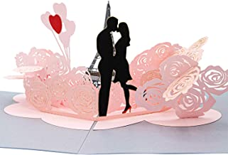 Paper Love Eiffel Tower Love Pop Up Card, 3D Popup Greeting Cards, For Wedding, Anniversary, Valentine's Day, Love, Romance, Birthday