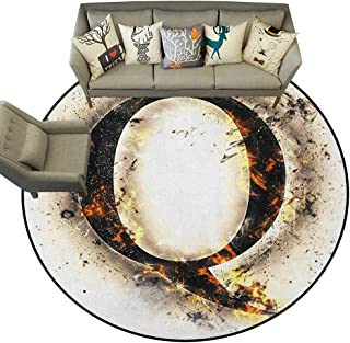 Letter Q,Custom Floor mats Words in Flames Gothic Style Influential Names Hazy Fire Featured Alphabet D60 Multi-USE Floor MAT