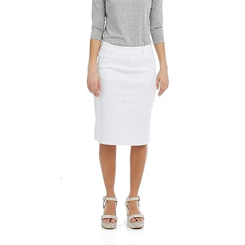 50a4d18d27 Esteez Women's Jean Skirt - Modest - Straight Cut Knee Length - Stretch  Denim - Manhattan