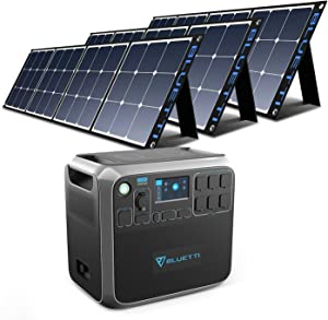BLUETTI AC200P Solar Generator with Panels Included 2000W Portable Power Station with 3pcs Foldable Solar Panel 120W SP120, Solar Power Generator for RV House Outdoor Camping