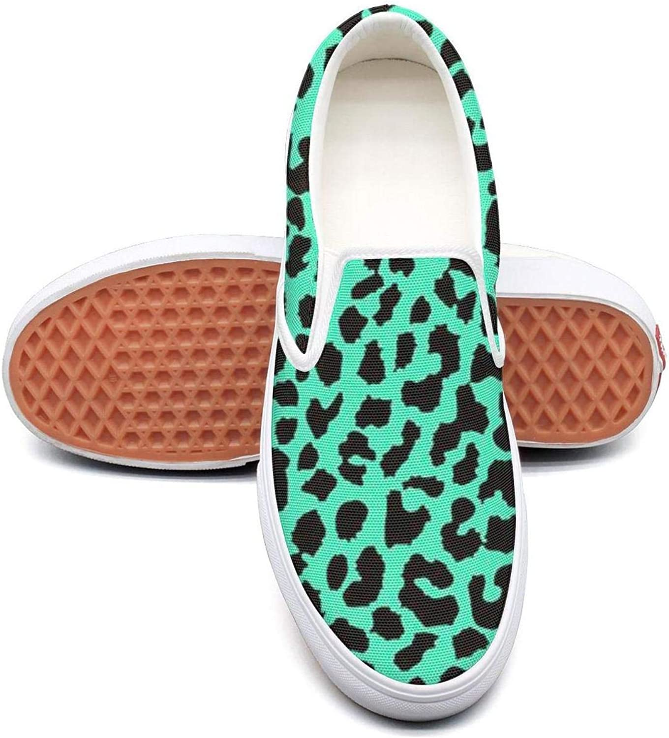 Refyds-es colorful Cheetah Print Wallpaper Womens Fashion Slip on Low Top Lightweight Canvas Basketball Sneakers