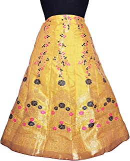 07249c942 Women's Umbrella Cut Traditional Lehenga/Skirt for Party/Festival Function,  Yellow