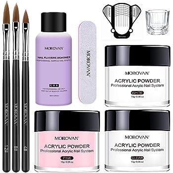 Morovan Acrylic Nail Kit Acrylic Powder and Professional Liquid Monomer set with Acrylic Nail Brush Nail Forms tips for Acrylic Nails Extension Beginner kit