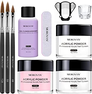 Morovan Acrylic Nail Kit Acrylic Powder and Professional Liquid Monomer set with Acrylic Nail Brush Nail Forms tips for Ac...