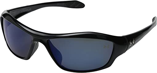Satin Black Frame/Black Rubber/Blue Mirror Polarized Lens