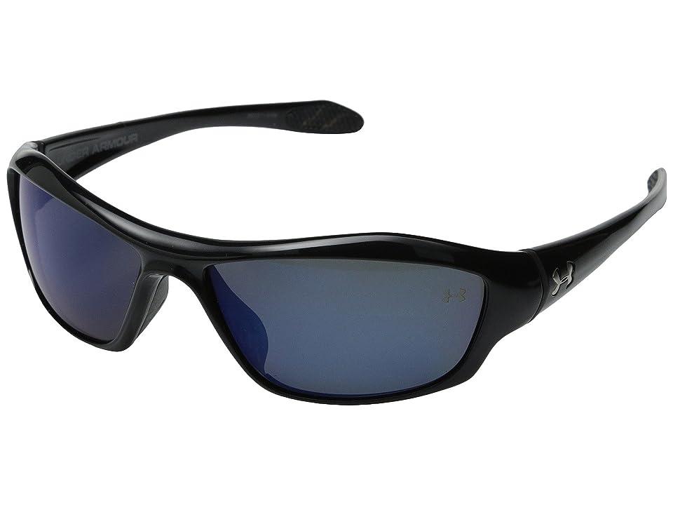 Under Armour UA Power (Satin Black Frame/Black Rubber/Blue Mirror Polarized Lens) Sport Sunglasses