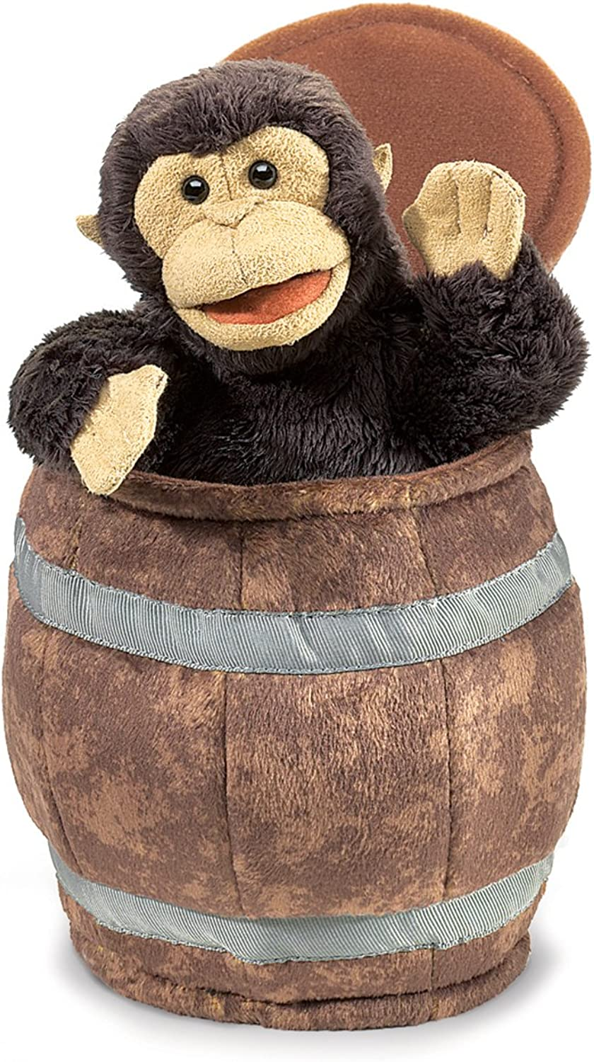 Folkmanis Puppets Monkey in A Barrel Hand Puppet, Brown
