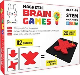 Play Poco Magnetic Brain Games - 112 Puzzles Designed to Boost Intelligence - with 20 Magnetic Shapes, Magnetic Board, 112...