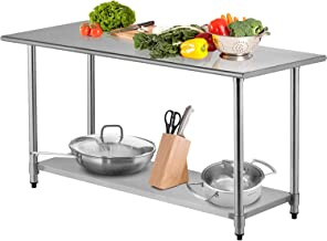 SUNCOO Commercial Stainless Steel Work Food Prep Table and bar Sinks for Kitchen (72 in Long x 30 in Deep Without Backsplash)