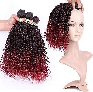 BOBIDYEE 女性のワインレッドルースウェーブ3バンドルヘアスタイリング人工毛エクステンションウィッグパーティーかつら (色 : Gradient, サイズ : 20inch)