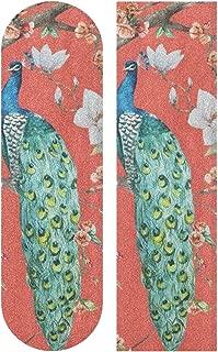 OuLian Watercolor Peacock Feather 33 x 9 inch Skateboard Grip Tape Sheet Bubble Free Skateboard Longboard Griptape Sand Paper Non-Slip